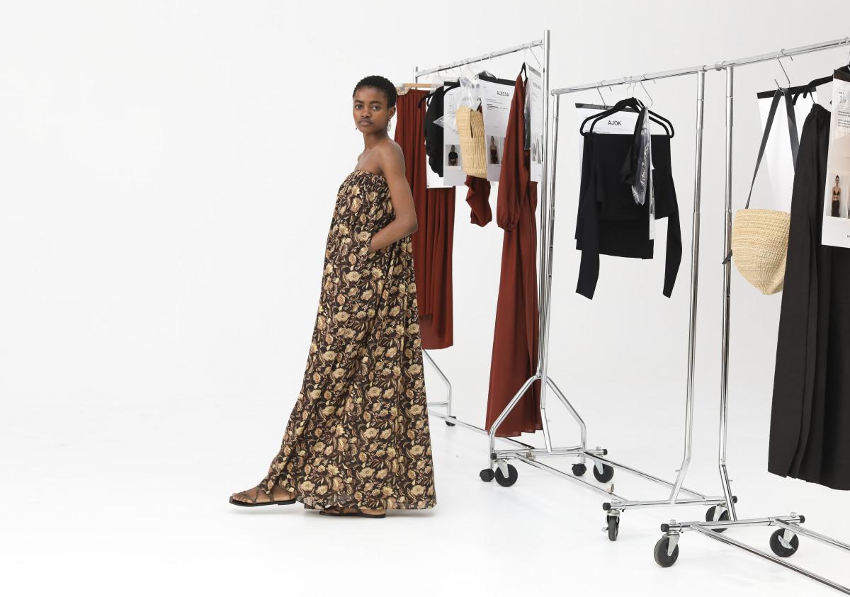 A model backstage at Matteau's Resort 2020 presentation. Photo: Lee Oliviera/Fashionista