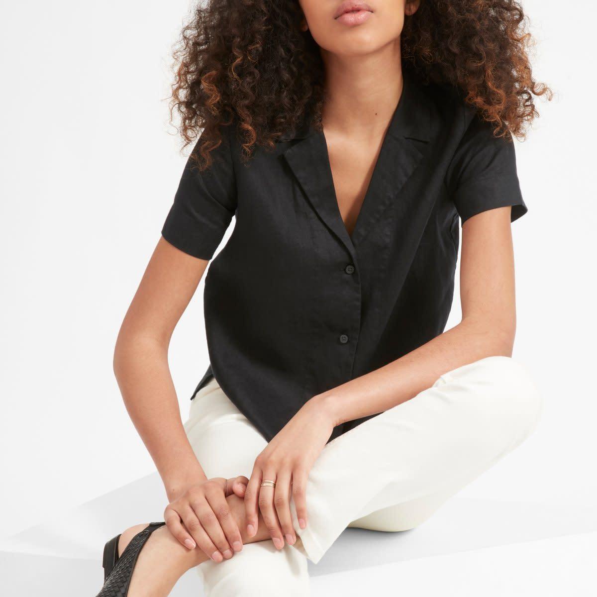 Everlane Women's Linen Notch Short-Sleeve Shirt, $58, available here.