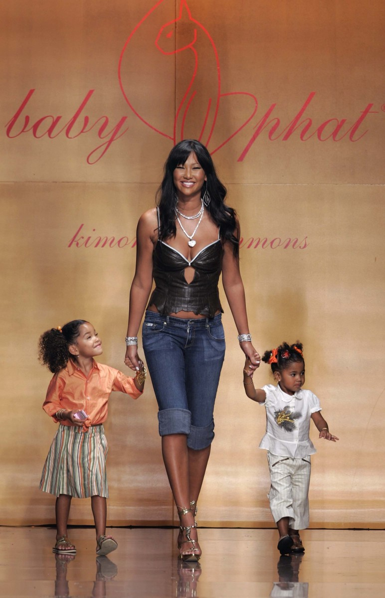 Kimora Lee Simmons Leissner with Ming and Aoki at Baby Phat's Spring 2005 runway show during New York Fashion Week. Photo: Carlo Allegri/Getty Images