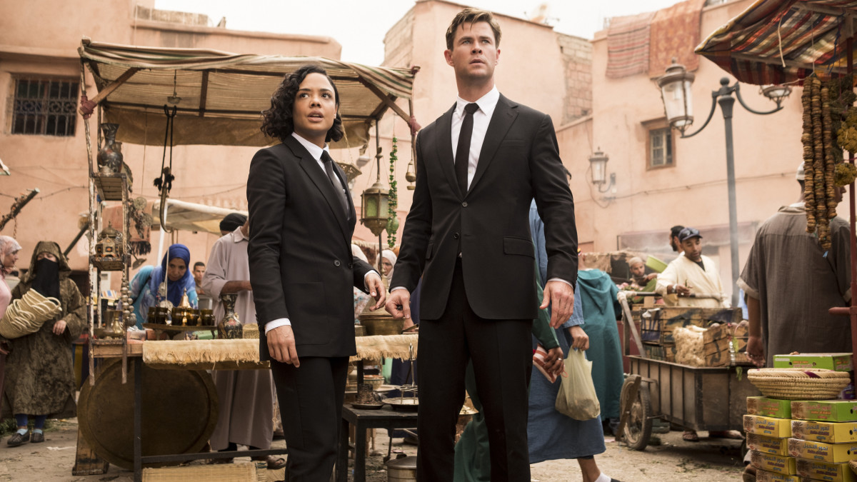 Agent M (Tessa Thompson) and Agent H (Chris Hemsworth). Photo: Giles Keyte/Sony Pictures Entertainment
