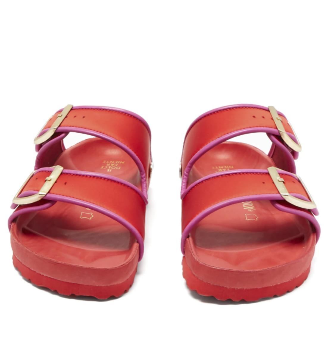 Birkenstock x Il Dolce Far Niente Arizona Fullex Satin Sandals, $460, available here.