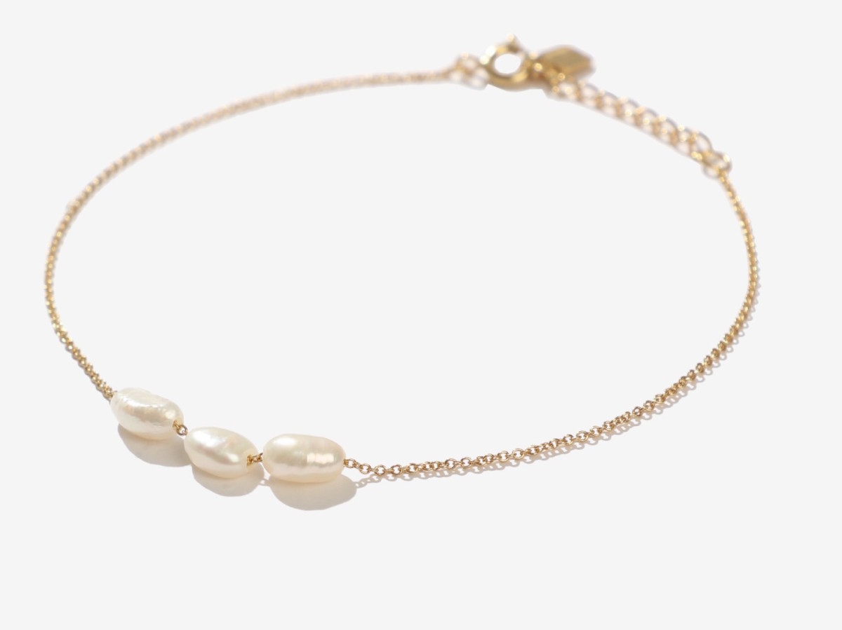 Adornmonde Ferd Gold Freshwater Pearl Anklet, $94, available here.