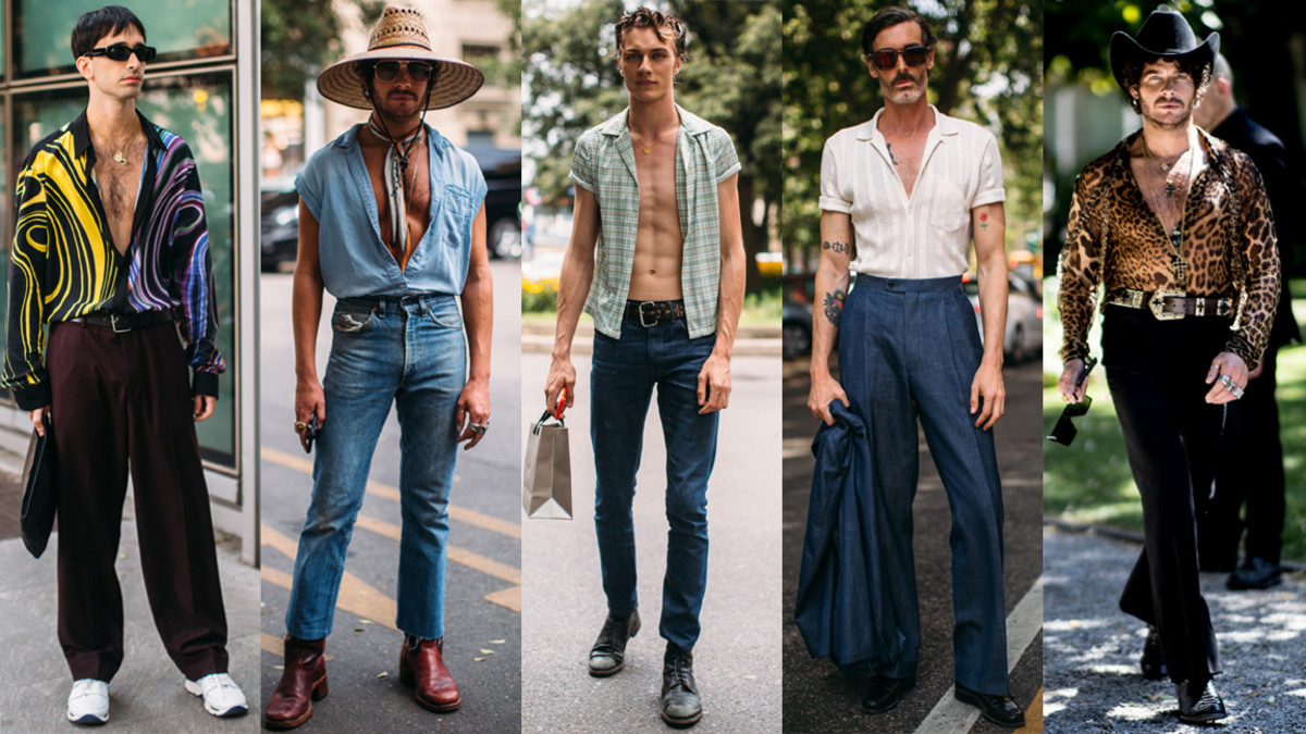 f58be223d1411 A Bit of a Bare Chest Was a Street Style Hit at Milan Fashion Week ...