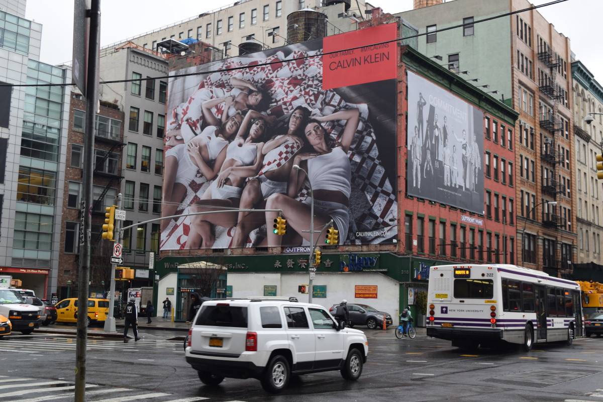 A Calvin Klein billboard and Equinox bulletin in Soho, New York City. Photo: Courtesy of Outfront Media