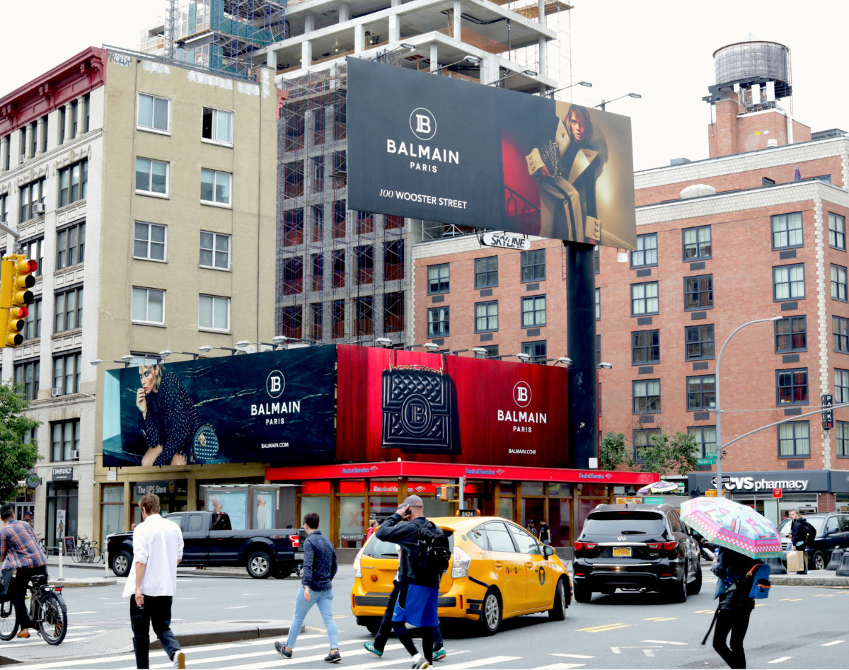 Balmain billboards in Soho, New York City. Photo: Courtesy of Skyline Outdoor Media