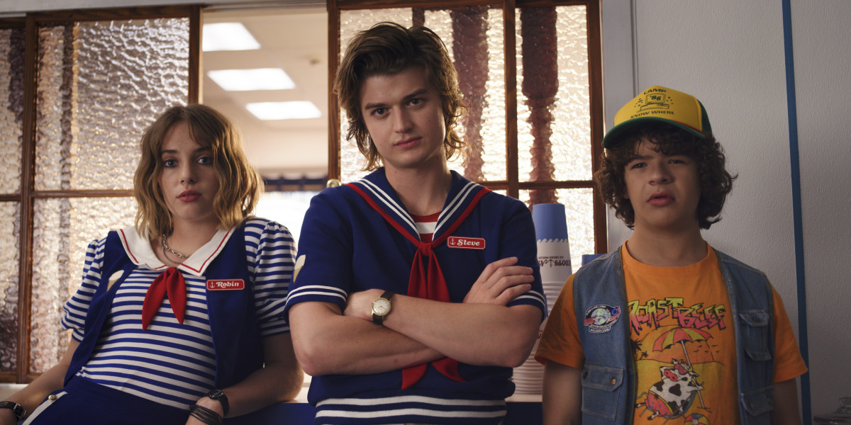 Wait until you see the shorts. Robin (Maya Hawke), Steve and Dustin in another excellent T.