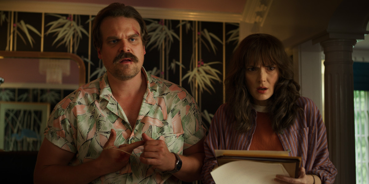 Hopper (David Harbour) in his Tom Selleck-inspired shirt and Joyce (Winona Ryder). Photo: Courtesy of Netflix