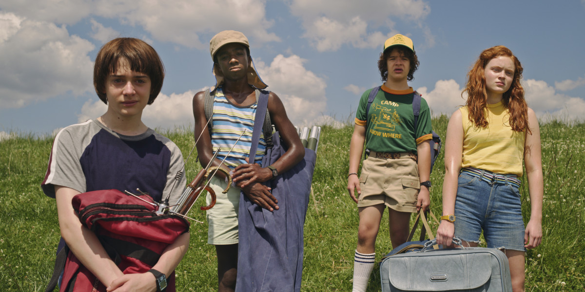Will (Noah Schnapp), Lucas (Caleb McLaughlin), Dustin (Gaten Matarazzo) and Max. Photo: Courtesy of Netflix