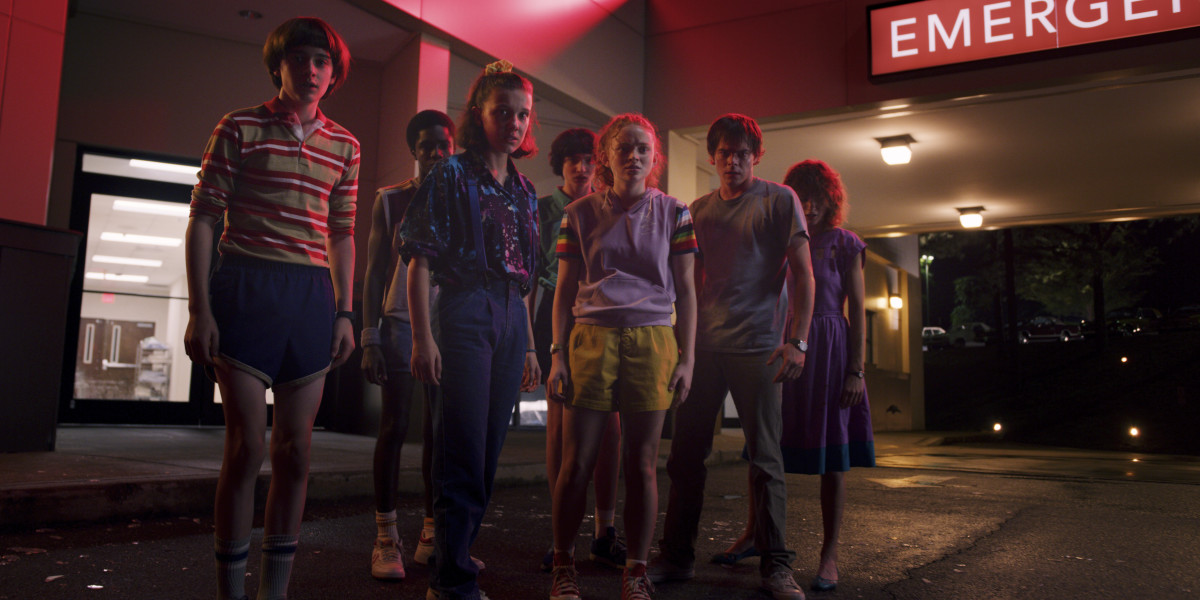 Will (Noah Schnapp), Lucas (Caleb McLaughlin), Eleven (Millie Bobby Brown), Mike (Finn Wolfhard), Max (Sadie Sink), Jonathan (Charlie Heaton) and Nancy (Natalia Dyer). Photo: Courtesy of Netflix
