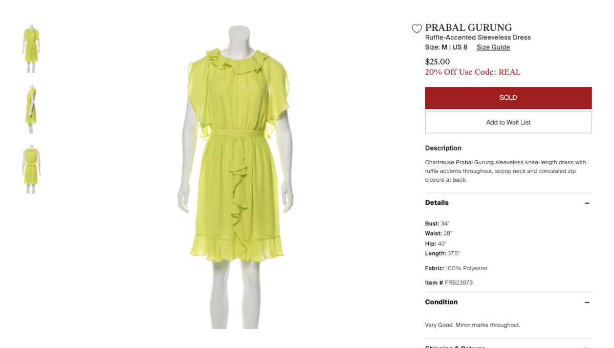 An Prabal Gurung for Target dress listed on The RealReal as of June 24, 2019. Photo: Screenshot/Fashionista