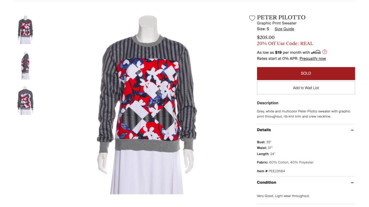 A Peter Pilotto for Target sweatshirt listed on The RealReal as of June 24, 2019. Photo: Screenshot/Fashionista