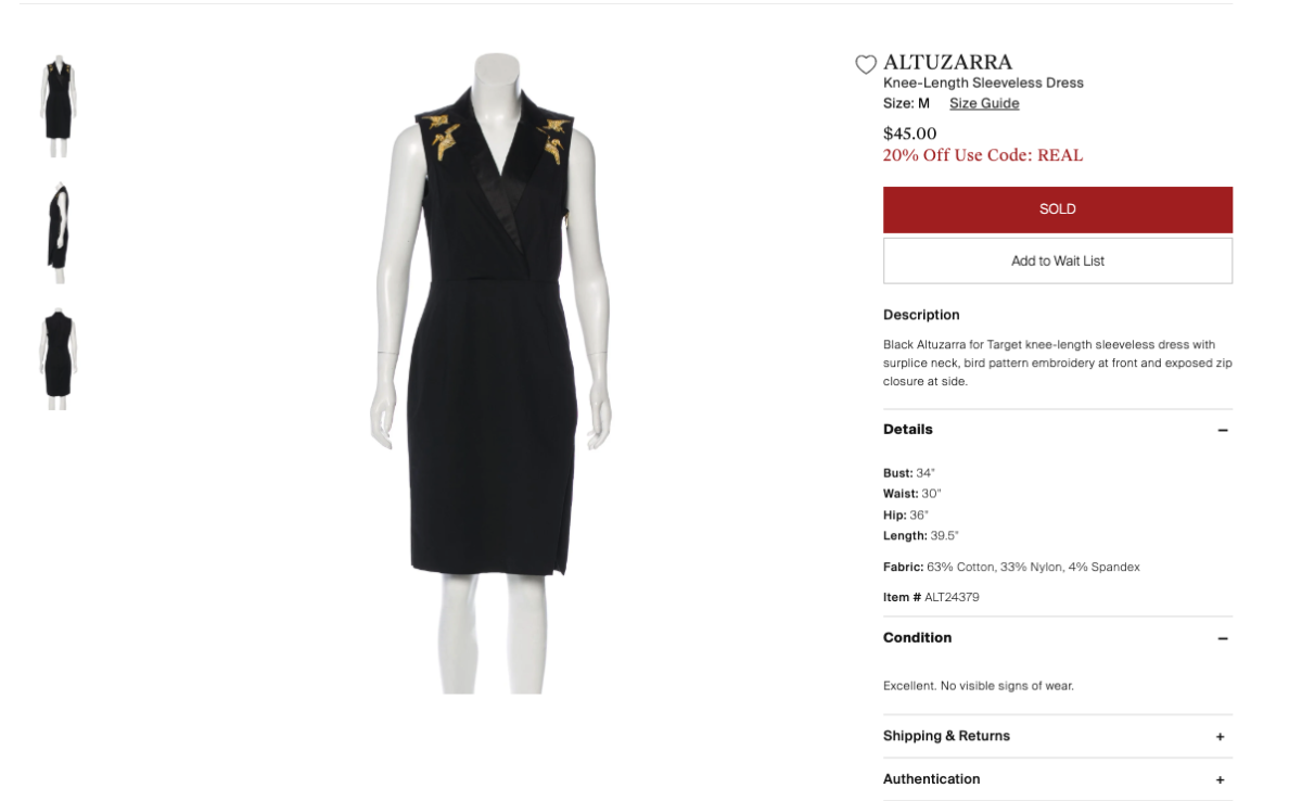 An Altuzarra for Target dress listed on The RealReal as of June 24, 2019. Photo: Screenshot/Fashionista