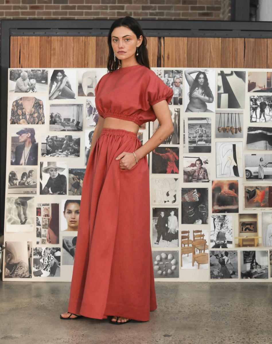 Phoebe Tonkin backstage at Matteau's Resort 2020 presentation. Photo: Lee Oliviera/Fashionista