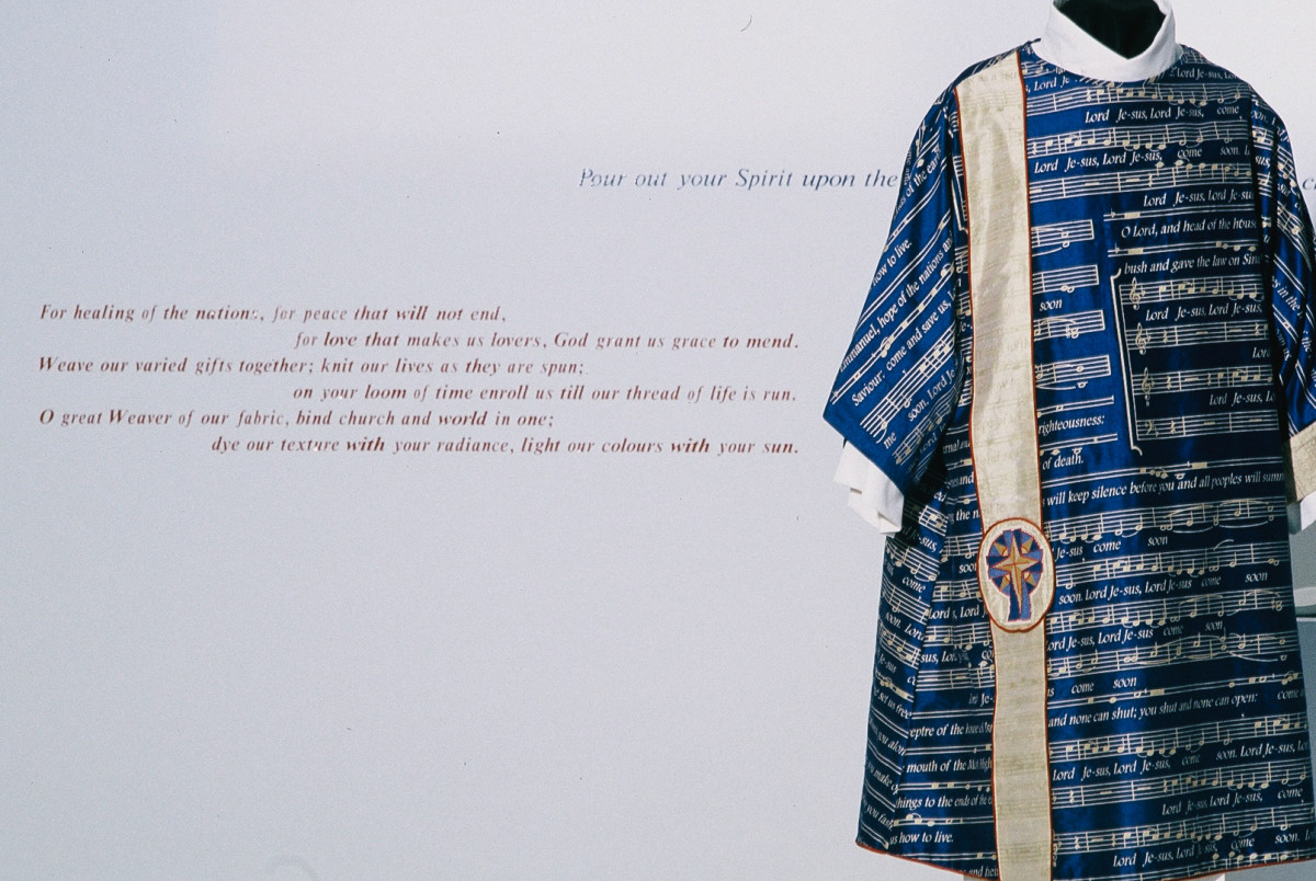 A blue Advent vestment by Thomas Roach, on exhibition at Museum London in Ontario. Photo: Courtesy Thomas Roach