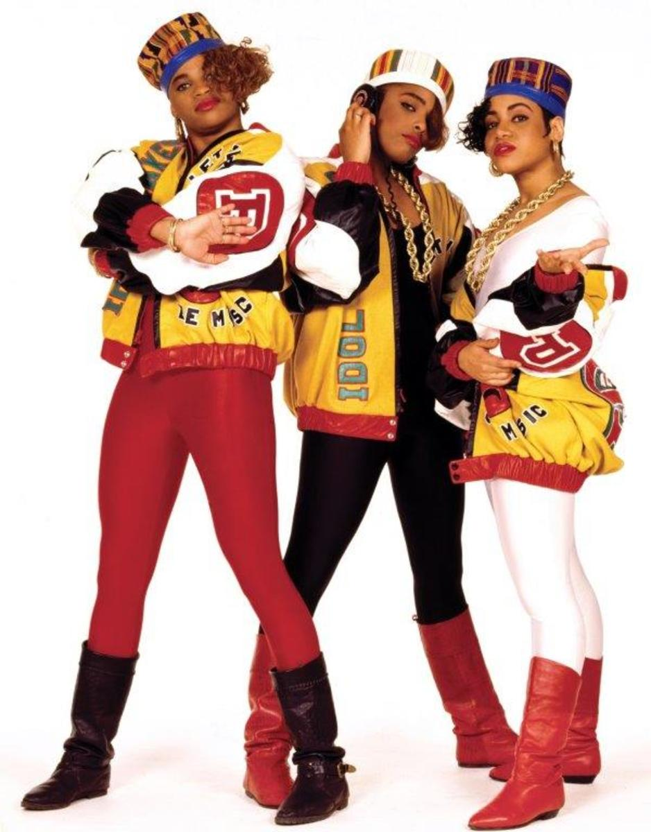 Salt-N-Pepa decked out in Dapper Dan at a photo shoot for their label in 1988. Photo: Janette Beckman/Courtesy of Dapper Dan