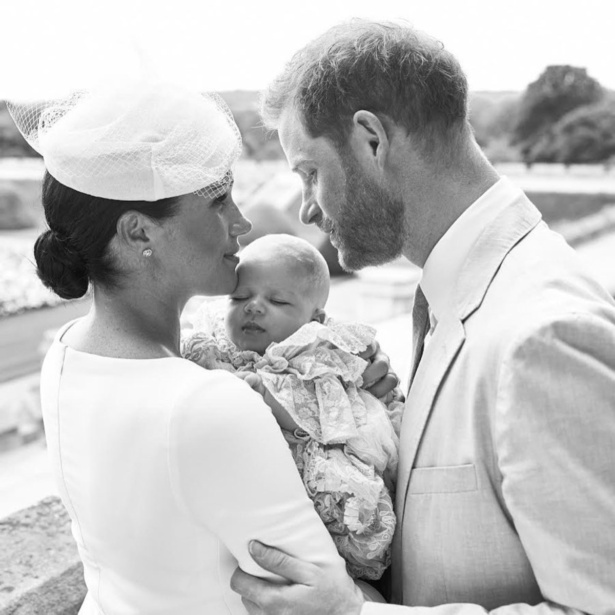 Prince Harry, Duke of Sussex, and Meghan, Duchess of Sussex holding their baby son, Archie Harrison Mountbatten-Windsor at Windsor Castle. Photo: Chris Allerton/Sussex Royal/AFP