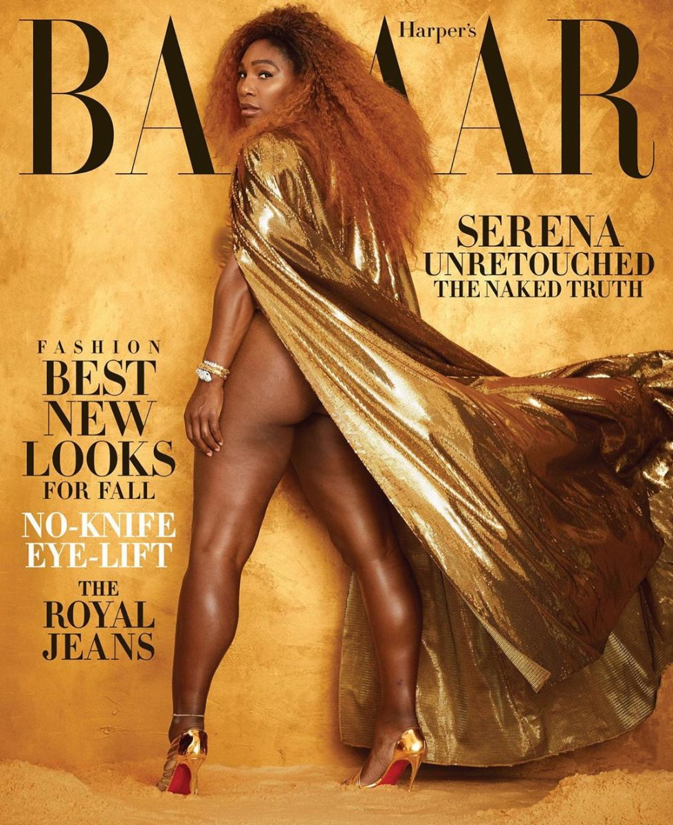 "Serena Williams on the August 2019 cover of ""Harper's Bazaar."" Photo: Alexi Lubomirski"