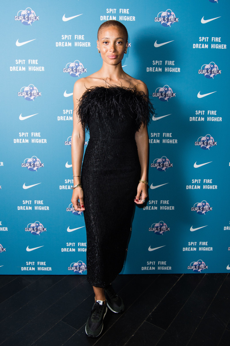 """Adwoa Aboah in 16 Arlington and Nike at the premiere of Nike x Gurls Talk """"Spit Fire, Dream Higher"""" in London. Photo: Jeff Spicer/Getty Images for Nike"""