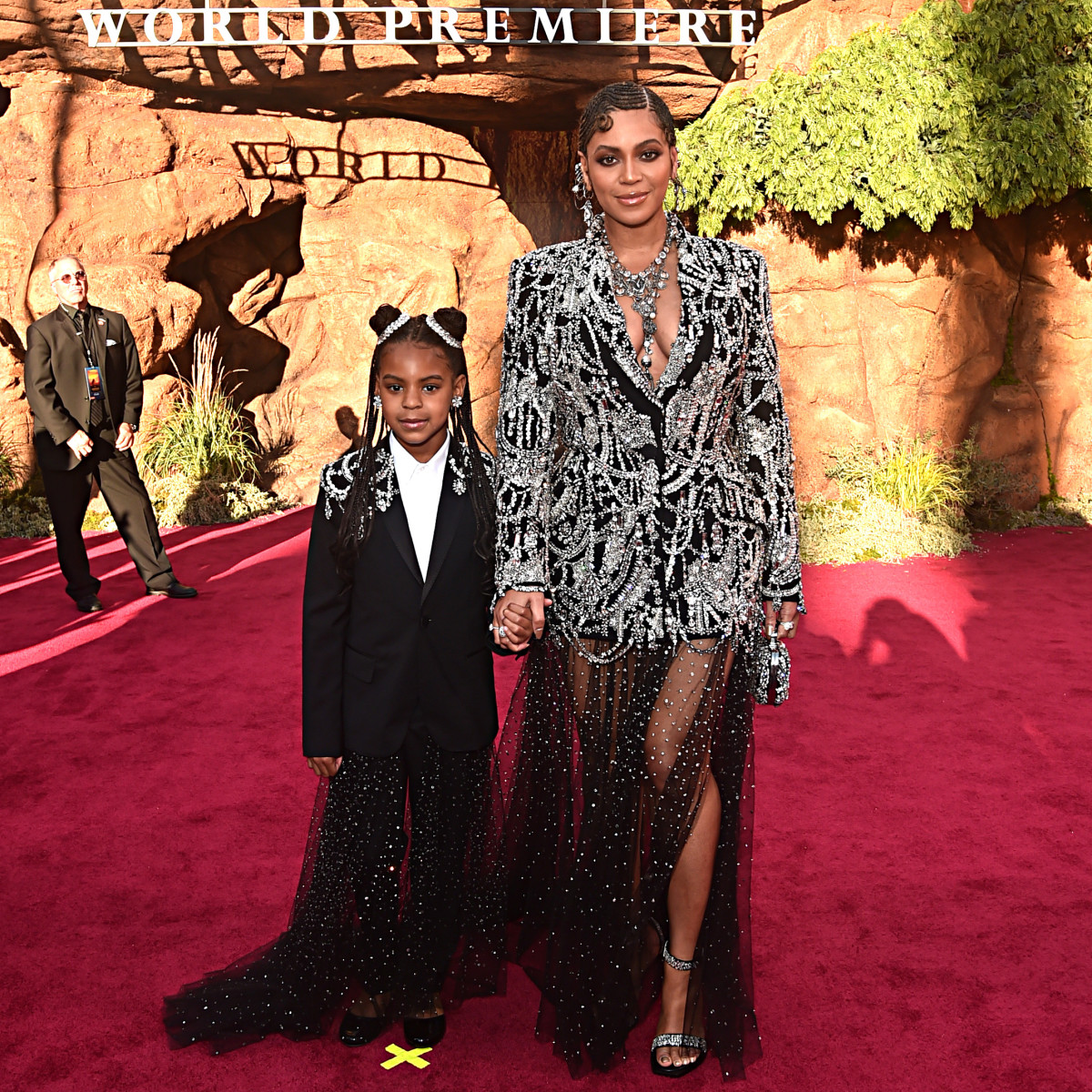 Blue Ivy and Beyoncé in Alexander McQueen at the 'Lion King' premiere. Photo: Alberto E. Rodriguez/Getty Images