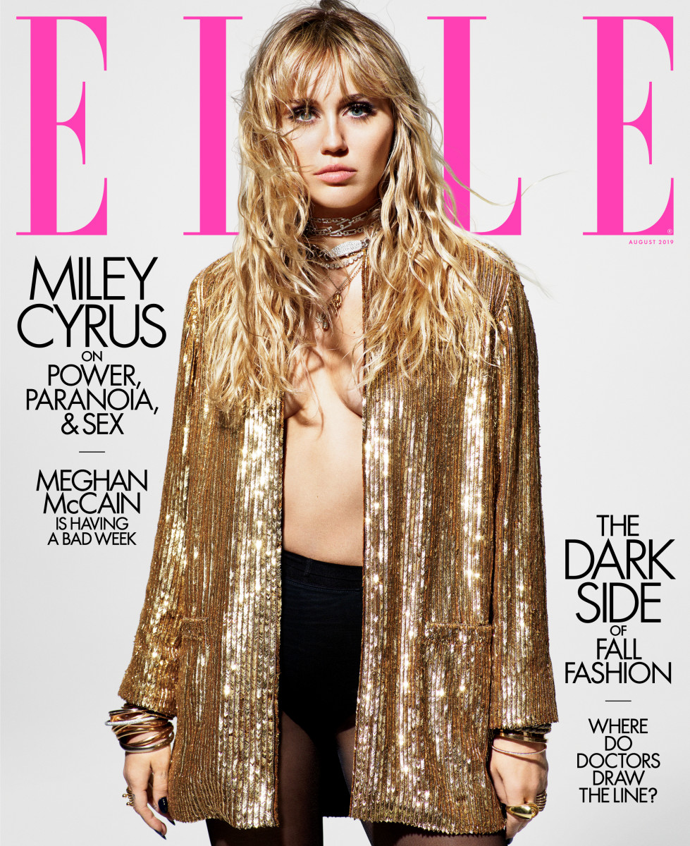 "Miley Cyrus on the August issue of ""Elle."" Photo: Mario Sorrenti"
