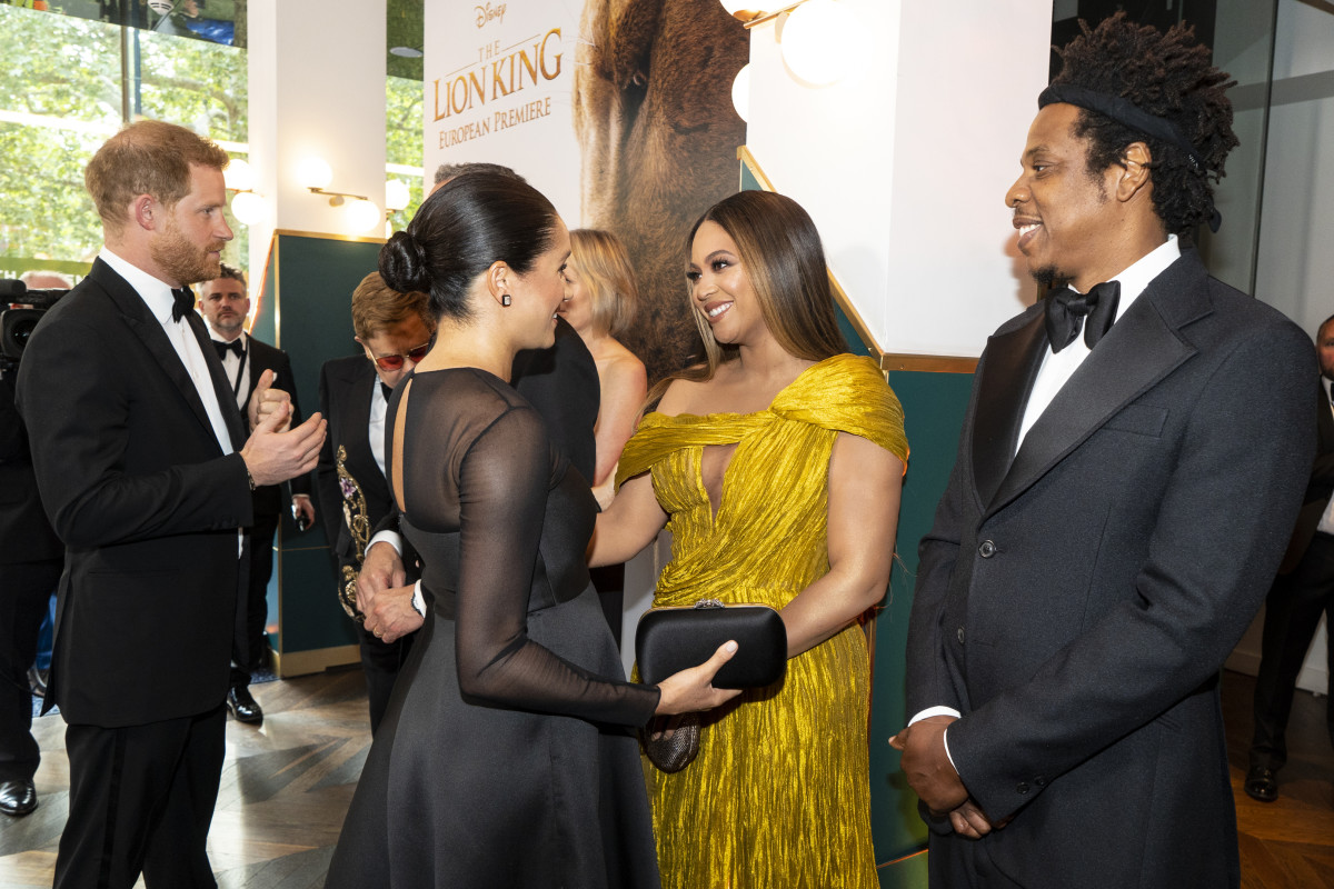 "Are you screaming? We're screaming. Prince Harry, Meghan Markle, Beyoncé and Jay Z at the London premiere of ""The Lion King."" Photo: Niklas Halle'n-WPA Pool/Getty Images"