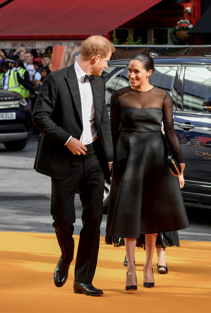 "Prince Harry and Meghan Markle, Duchess of Sussex, in Jason Wu at the London premiere of ""The Lion King."" Photo: Gareth Cattermole/Getty Images"