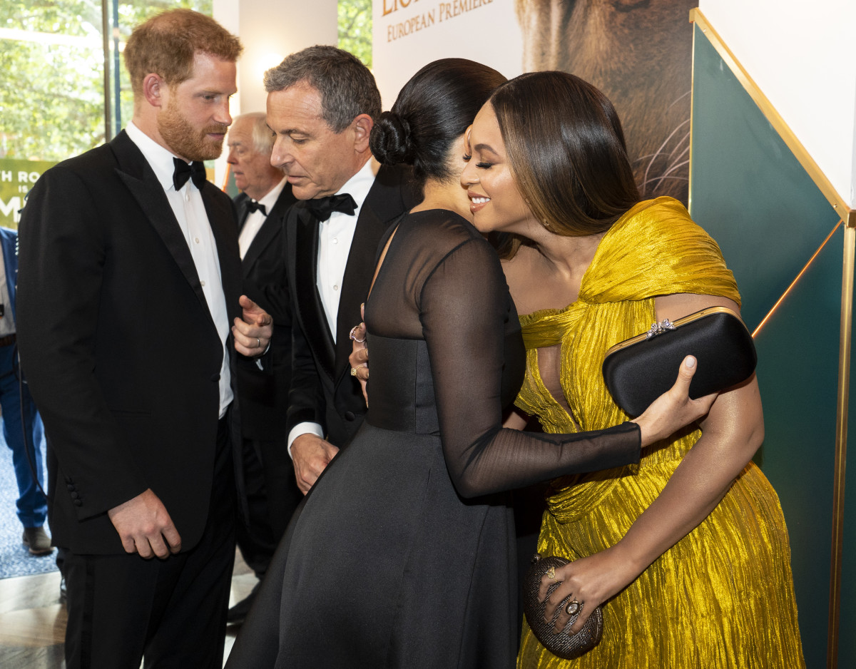"Meghan Markle, the Duchess of Sussex, and Beyoncé embrace at the London premiere of ""The Lion King."" Photo: Niklas Halle'n-WPA Pool/Getty Images"