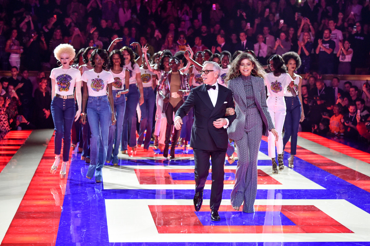 Tommy Hilfiger and Zendaya on the Spring 2019 TommyNow runway. Photo: Peter White/FilmMagic