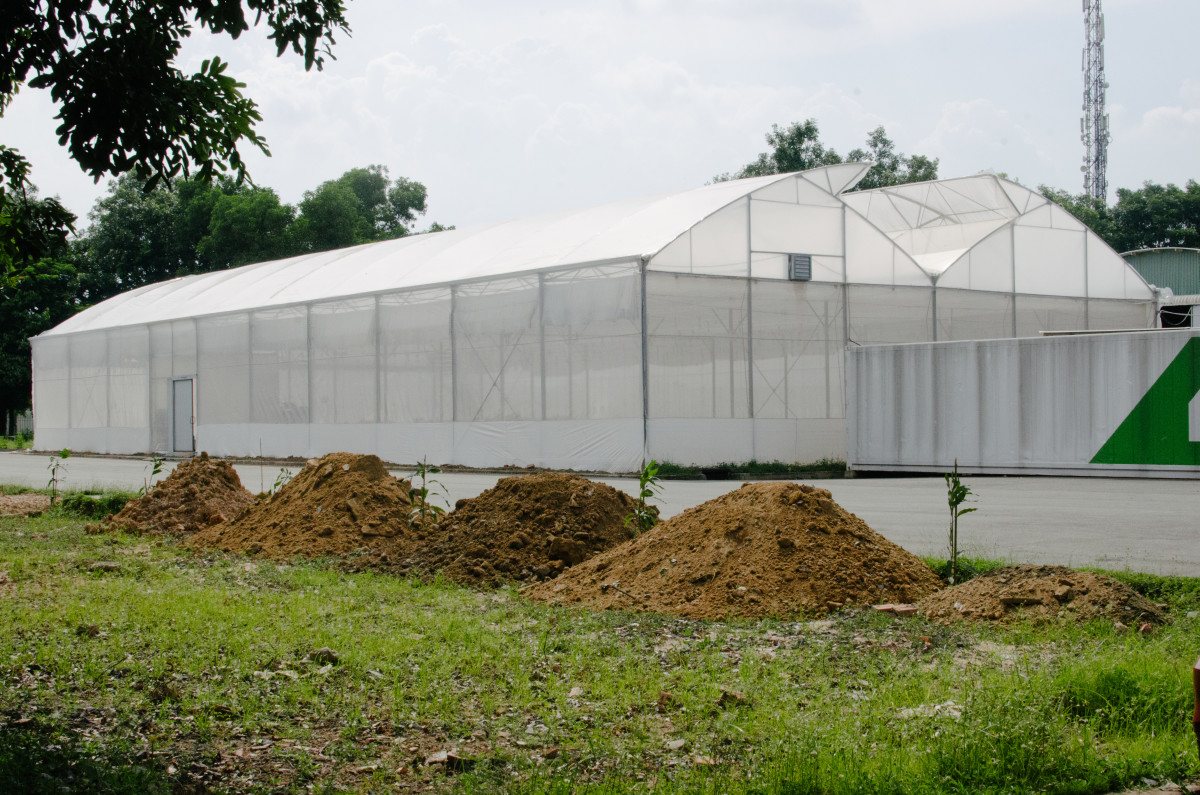 A greenhouse under construction at the Saitex campus. Photo: Whitney Bauck/Fashionista
