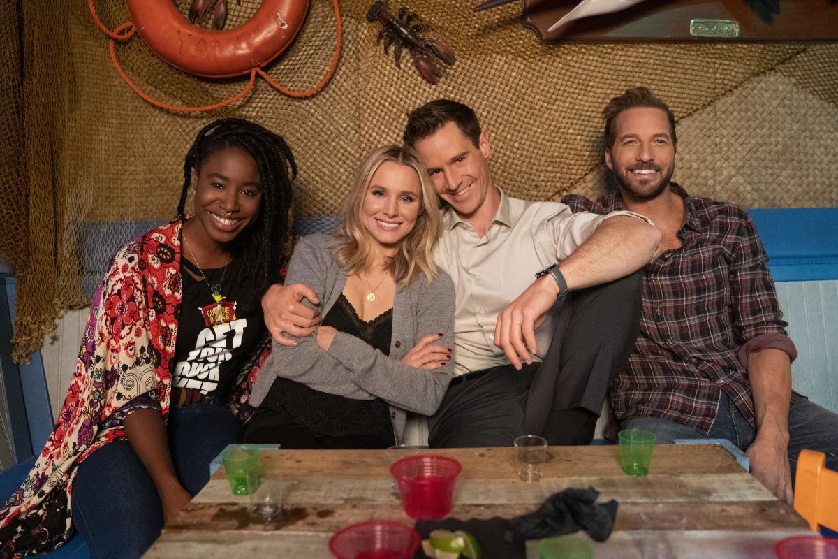 Nicole (Kirby Howell-Baptiste), Veronica, Logan and Dick Casablancas (Ryan Hansen).Photo: Michael Desmond/Courtesy of Hulu