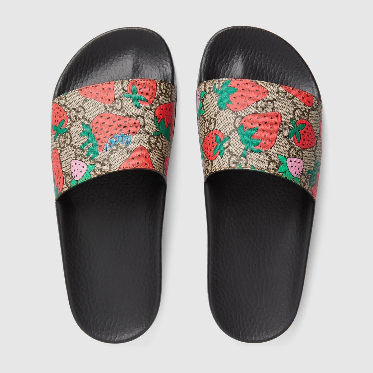 23f66ec32 GG Gucci strawberry slide sandal, $310, available here. Photo: Courtesy of  Gucci