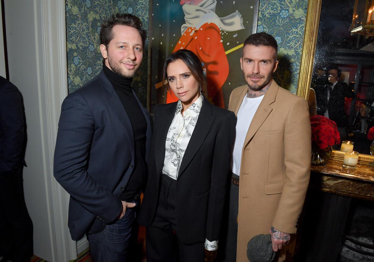 Derek Blasberg, Victoria Beckham and David Beckham. Photo: Victor Boyko/Getty Images for YouTube