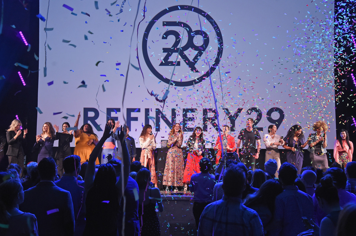 Refinery29 executives speak onstage during Refinery29 Presents: The World of Abundance at New Fronts NYC 2018. Photo: Jamie McCarthy/Getty Images for Refinery29