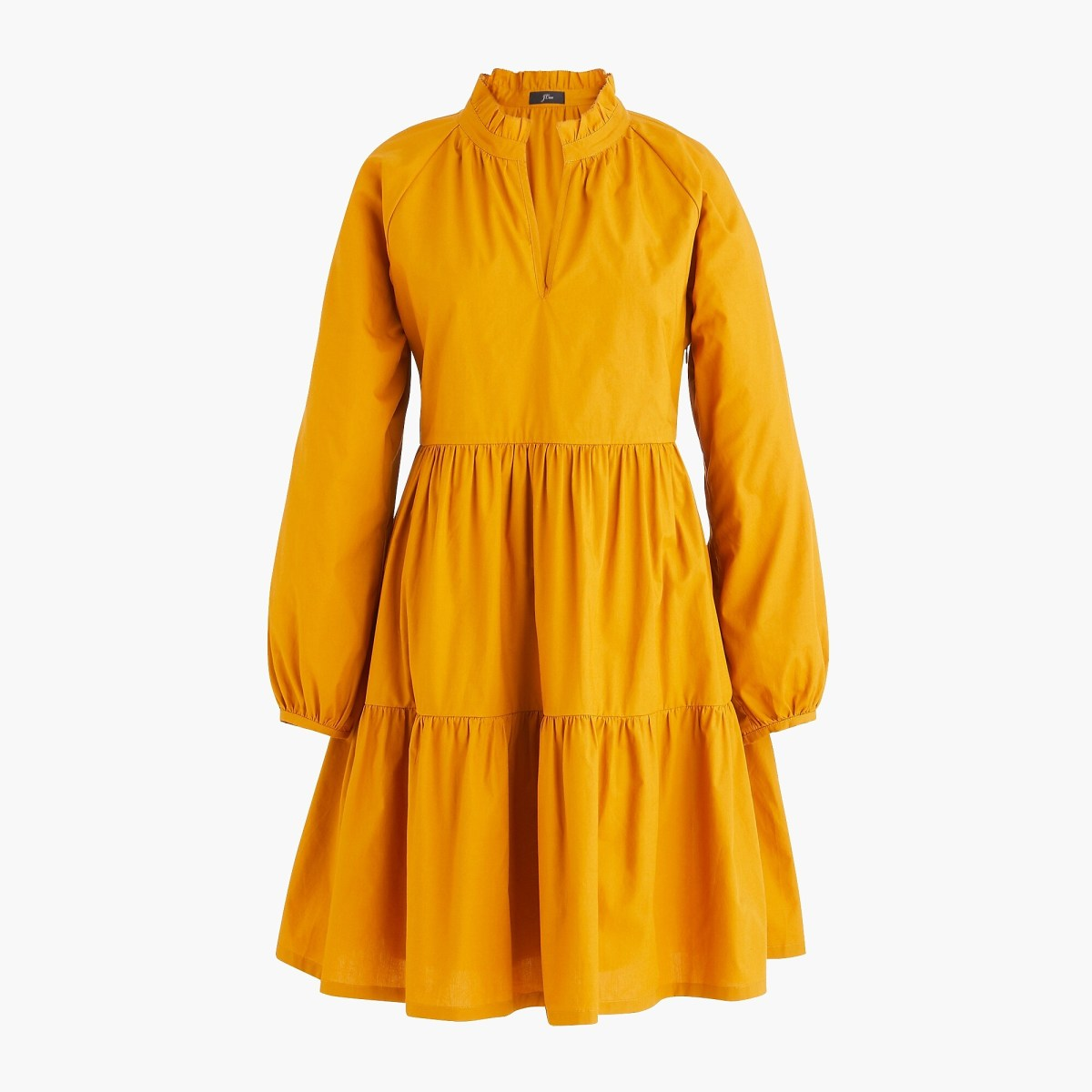 J.Crew Tiered Popover Dress in Warm Caramel, $110, available here.