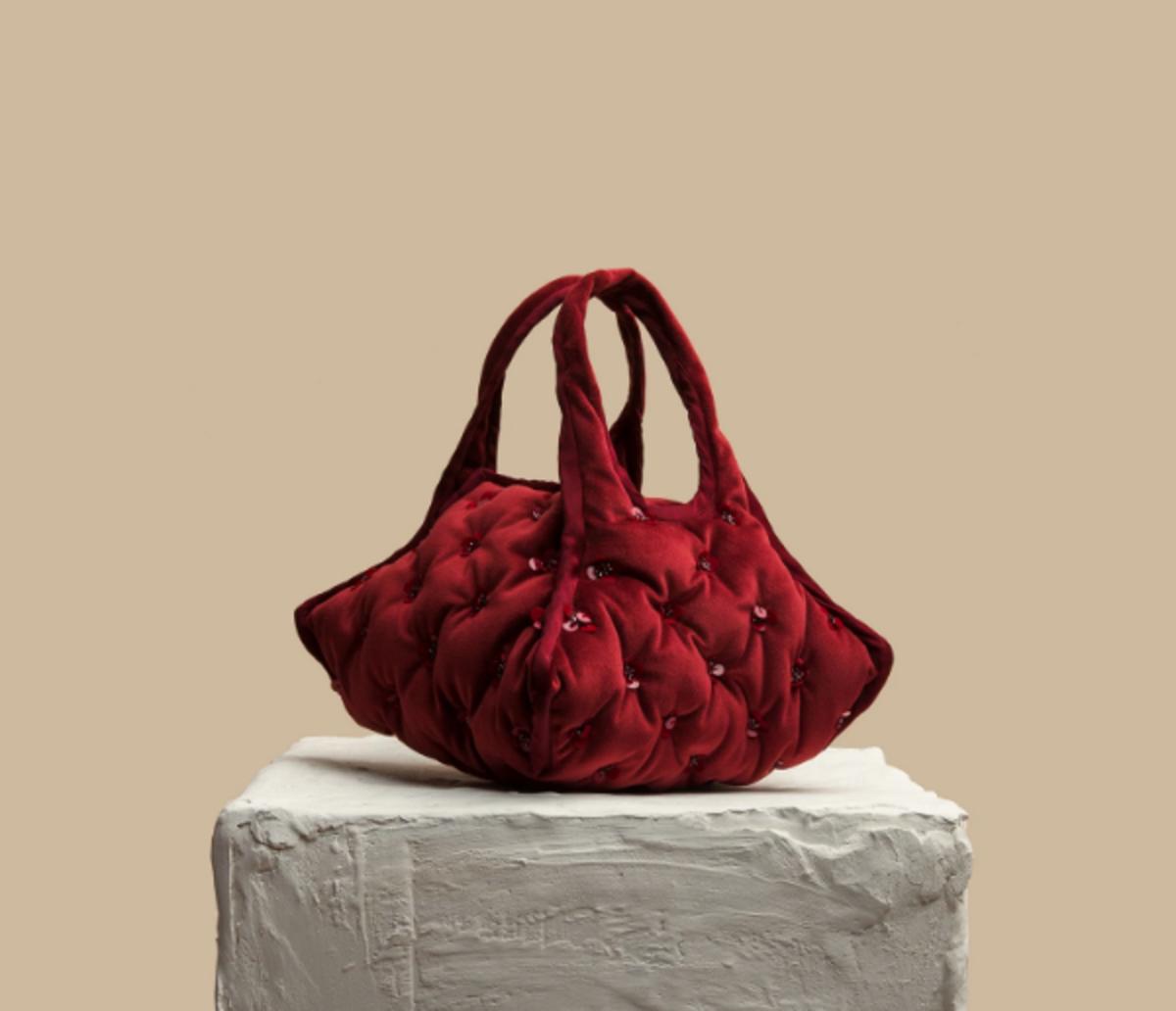 Khaore Burgundy Pillow Handbag, $350, available here.
