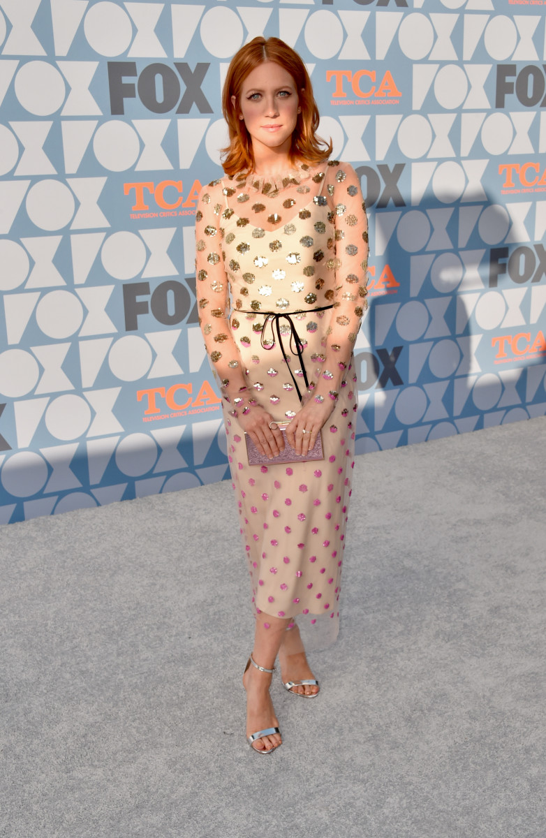 Brittany Snow in Monique Lhuillier at the Fox Summer TCA 2019 All-Star Party in Los Angeles. Photo: Alberto E. Rodriguez/Getty Images