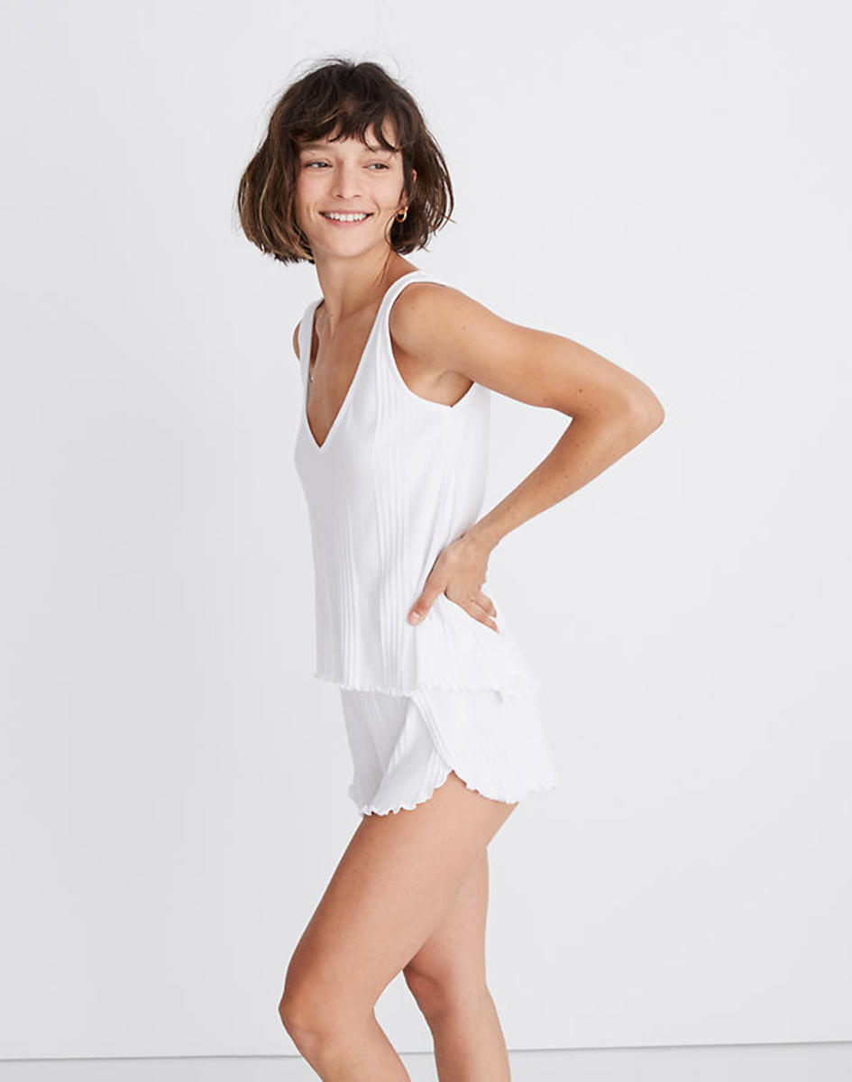 Madewell Ribbed Knit Pajama Tank Top, $19.99 (from $29.50) and Ribbed Knit Pajama Shorts, $25. Photo: Courtesy of Madewell