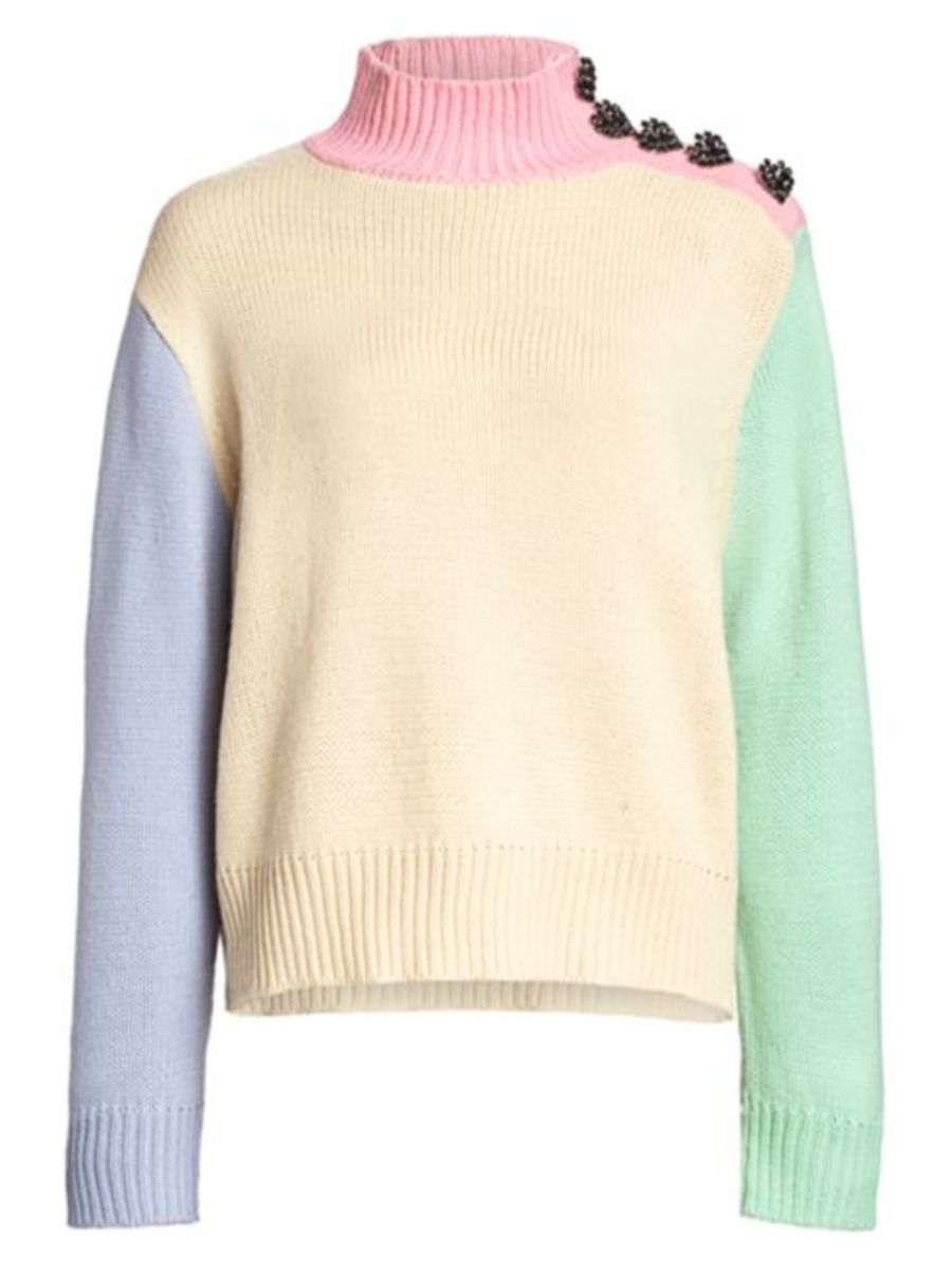 Olivia Rubin Lyla Oversized Colorblock Sweater, $310, available here.