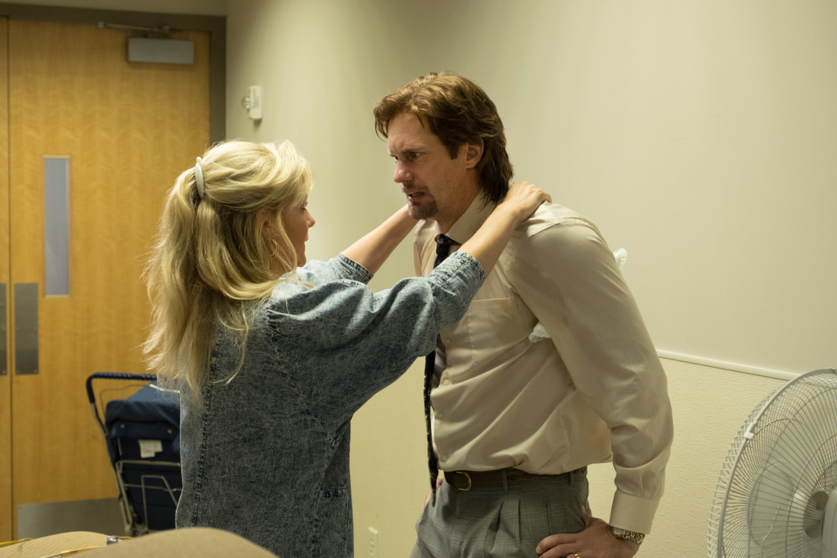 "Krystal (Kirsten Dunst) and Travis (Alexander Skarsgård). Also, note that the men's ""crazy"" ties emulate their FAM mentors or their ""uplines."" Photo: Patti Perret/Courtesy of Sony/Showtime"
