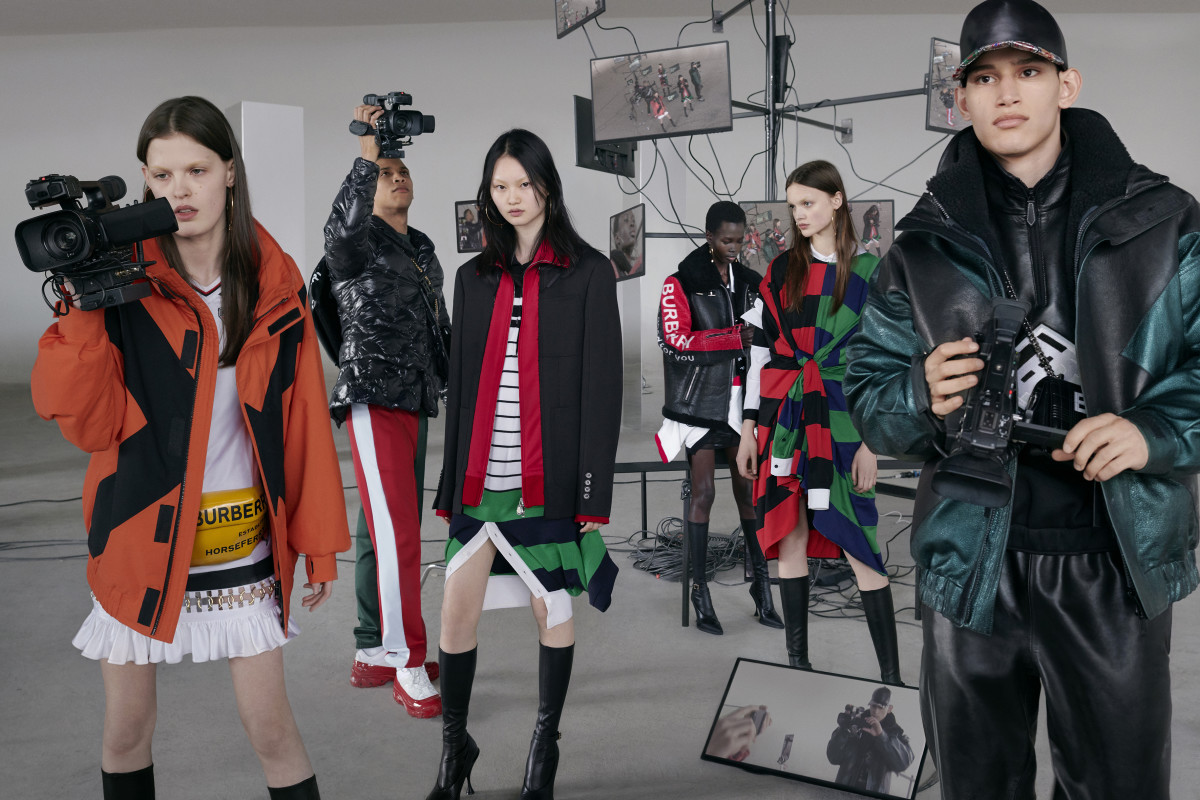 Anna Ross, Junior Vasquez, He Cong, Mammina Aker, Shayna McNeil and Alexis Chaparro for Burberry Fall 2019. Photo: Nick Knight