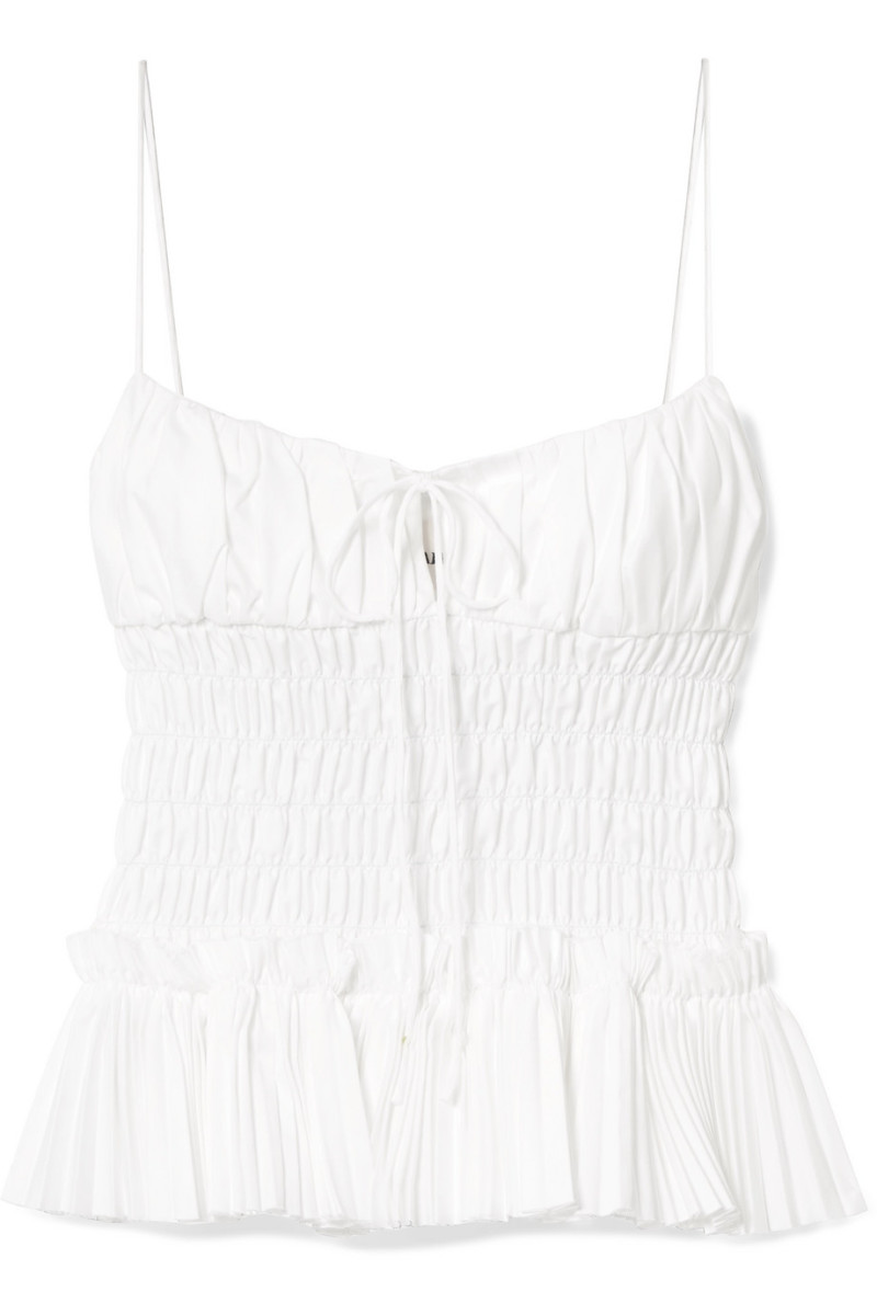 Khaite Dagny Shirred Pleated Cotton-Poplin Top, $468 (from $780), available here.