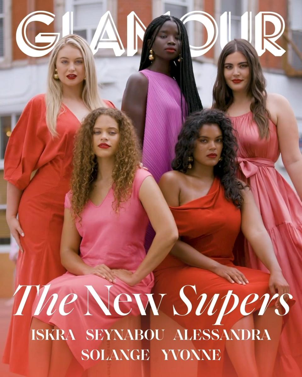 "Senyabou Cissé, Iskra Lawrence, Alessandra Garcia Lorido, Yvonne Simone and Solange van Doorn on the September 2019 cover of ""Glamour"" Photo: Danielle Levitt"