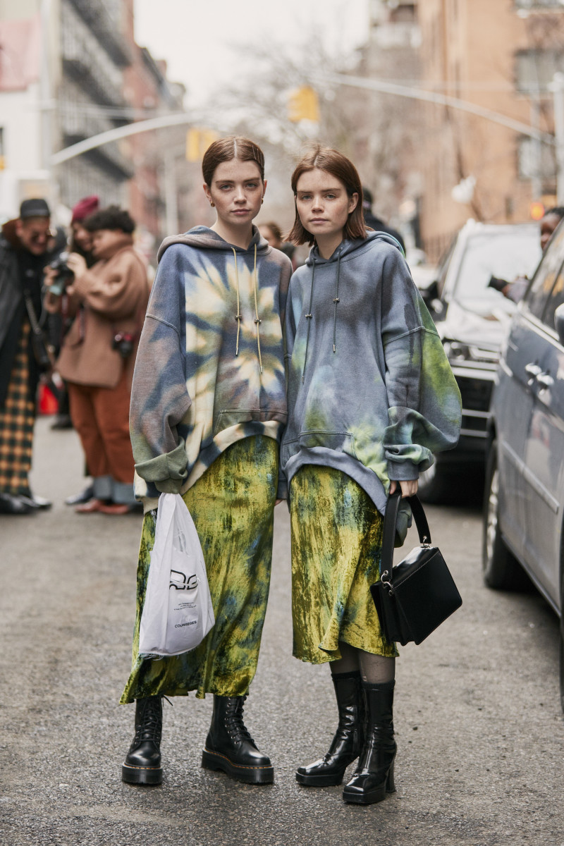 Molly Blutstein and Reese Blutstein in Collina Strada. Photo: Imaxtree