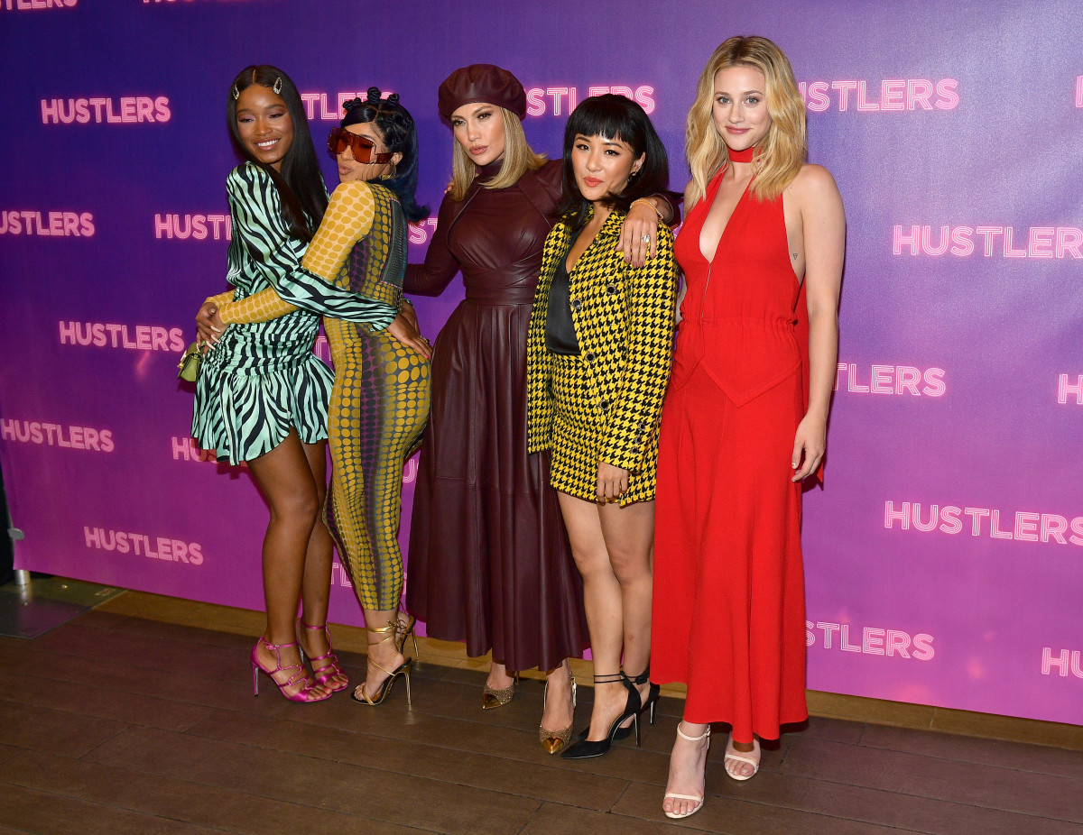 "Keke Palmer, Cardi B, Jennifer Lopez, Constance Wu and Lili Reinhart at a ""Hustlers"" photocall in Los Angeles. Photo: Matt Winkelmeyer/Getty Images"