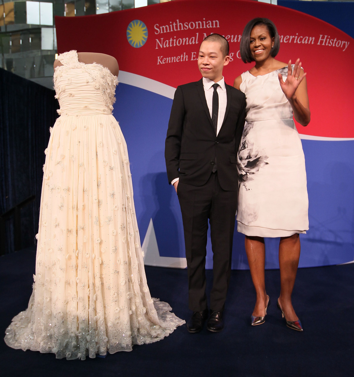 Former First Lady Michelle Obama poses (with designer Jason Wu) in a dress from Prabal Gurung's debut collection. Photo: Mark Wilson/Getty Images