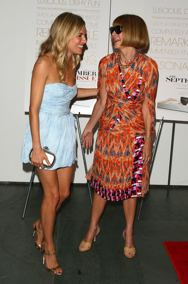 "Sienna Miller and Anna Wintour at a screening of ""The September Issue"" in August 2009. Photo: Andrew H. Walker/Getty Images"