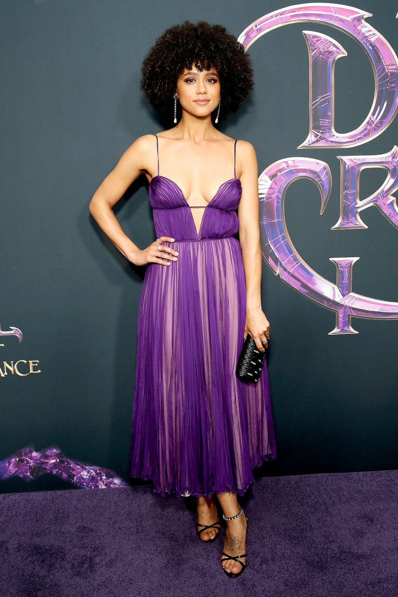 """Nathalie Emmanuel in Miu Miu at Netflix's """"The Dark Crystal: Age of Resistance"""" screening. Photo: Monica Schipper/Getty Images"""