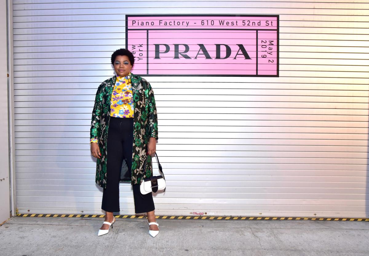Stylist Gabriella Karefa-Johnson at the Prada Resort 2020 show. Photo: Sean Zanni/Getty Images