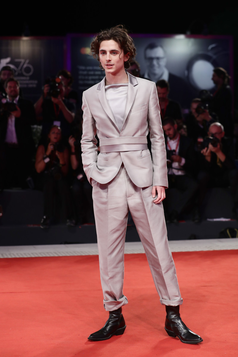 """Timothée Chalamet in Haider Ackermann at """"The King"""" red carpet during the 2019 Venice Film Festival."""