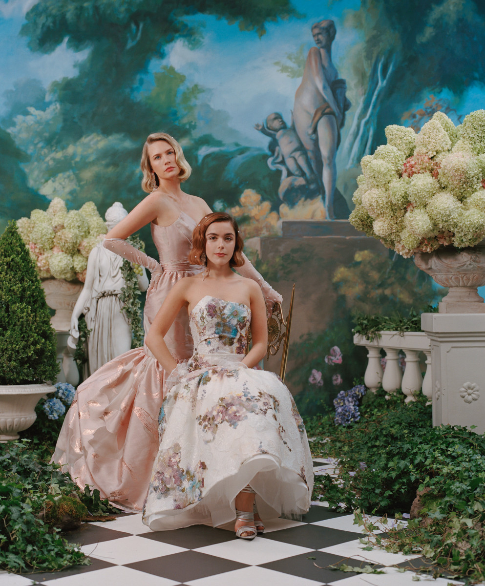 January Jones and Kiernan Shipka in looks from Rodarte's Spring 2020 collection. Photo: Daria Kobayashi Ritch/Rodarte